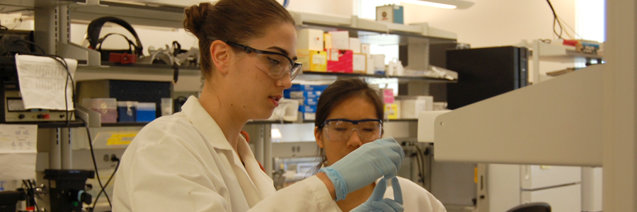Two graduate students in the lab